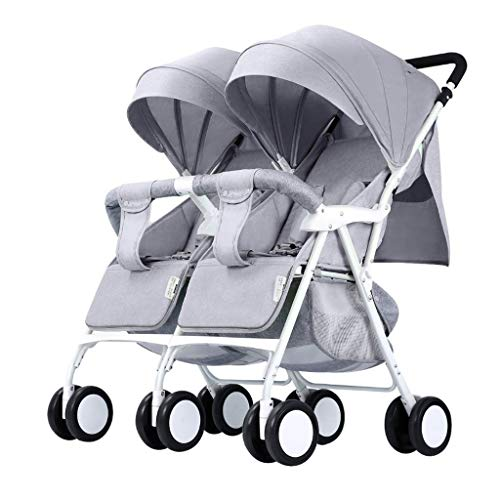 Twin Kinderwagen Leichte Double Groove Folding Newborn Umbrella Tandem Kinderwagen Compact Kleinkind Kinderwagen Stubenwagen, Sitzlehne Aufbewahrungstasche (Color : Gray)