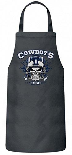 Shirt Happenz Cowboys Skull Schürze | American Football | Totenkopf | Football-Helm | Kochen & Backen | Grillschürze, Farbe:Grau (Steel PW102);Größe:60cm x 87cm