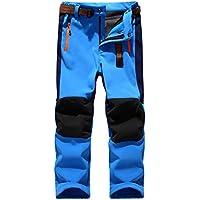 CAMLAKEE Pantalones Senderismo Niño Niña, Pantalon Softshell Impermeable Transpirable Pantalones Trekking Montaña Invierno, Azul, S