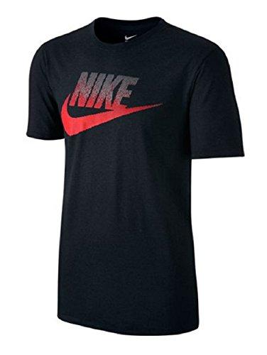 Nike Oversize Speckle Futura Men's Sports Tee Casual T-shirt (X-Large, black/crimson)