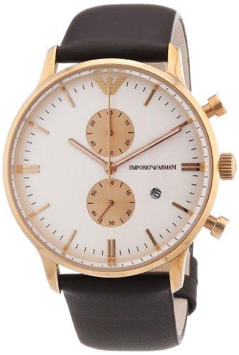 Emporio Armani - AR0398 - Montre Homme - Quartz Chronographe - Bracelet Cuir Marron