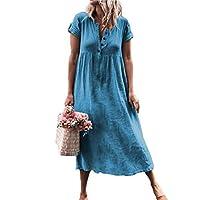 Juleya Women Linen Dresses V-Neck Maxi Dress Loose Baggy Kaftan Stretchy Short Sleeve Beach Summer Boho Tunic Blouse Dresses Blue