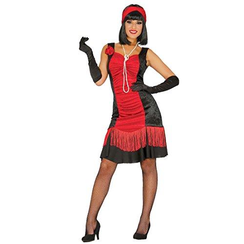 NET TOYS Charlestonkleid schwarz-rot 20er Jahre Kostüm Damen L 42/44 Flapper Dress Karneval Zwanziger Jahre Kleid Gatsby Fransenkleid 1920er Swing Karnevalskostüm