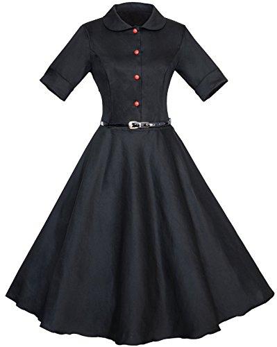 Vídeo de las mujeres Vintage Años 50Rockabilly Vestido Swing patinadores fiesta Casual negro negro 42