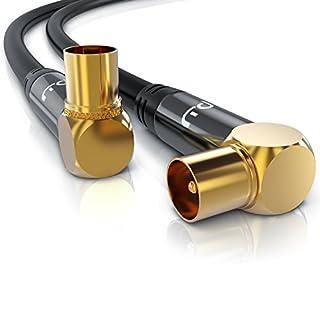 Primewire - 10m HDTV Antennenkabel 75 Ohm 90 Grad gewinkelt - Koax Stecker 90 Grad Koax Kupplung 90 Grad - DVB-T und DVB-T2 Radio UKW DAB DAB - robuste Vollmetallstecker - hochdichte Schirmung