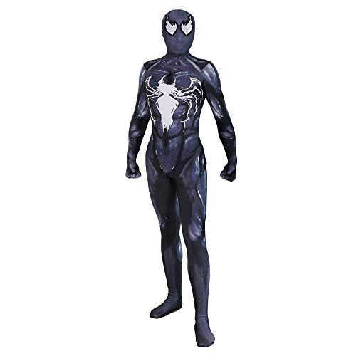 (XINFUKL Venom Spiderman Kostüm Halloween Cosplay Stretch Strumpfhosen Film Party Requisiten,Black1-L)