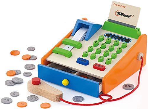 Top Race 30 Stück aus Holz bis Spielzeug, Holzkasse mit Spiel Spielzeug aus Holz Replica US-Münzen, Scanner und Kreditkarte, Lebensmittelgeschäft Rollenspiel pädagogisch Pretend Toy Set.
