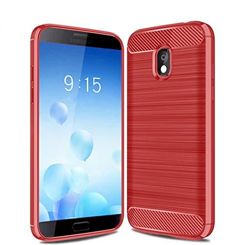 Kit Me Out DE® Galaxy J3 (2018) Schutzhülle TPU-Gel Gebürstete Carbonfaser Hülle Rückseite - stoßfest & robust - für Samsung Galaxy J3 (2018) - Rot