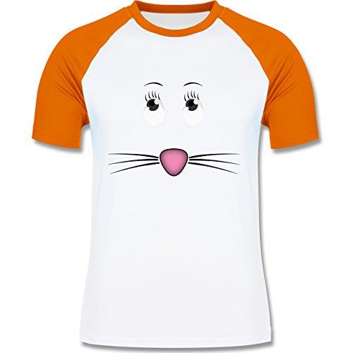 Sonstige Tiere - Maus Gesicht Mouse - zweifarbiges Baseballshirt für Männer Weiß/Orange