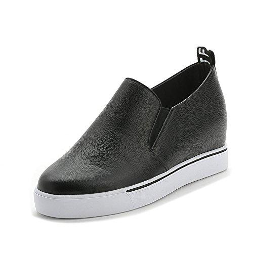 Damen Sneaker Plateau Freizeit Schuhe ohne Verschluss - Keilabsatz innen Schwarz
