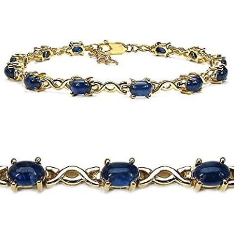 Goldancé - Bracciale da Donna argento sterling 925 placcati in oro vero Zaffiro blu - B204BSAPH_SGP