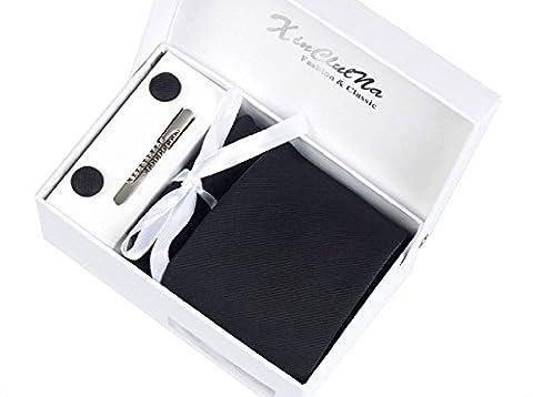 Herren Krawatten set mit ManschettenKnöpfe, Einstecktuch und Krawatte Bar Geschenk Set (schwarz)