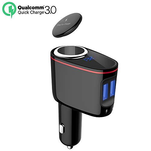 Timloon 100W Splitter per Presa accendisigari, Adattatore per caricabatteria da Auto con Caricabatterie rapido da 30W QC3.0 USB + Caricabatterie Smart 5V 2.4A USB, Display Tensio