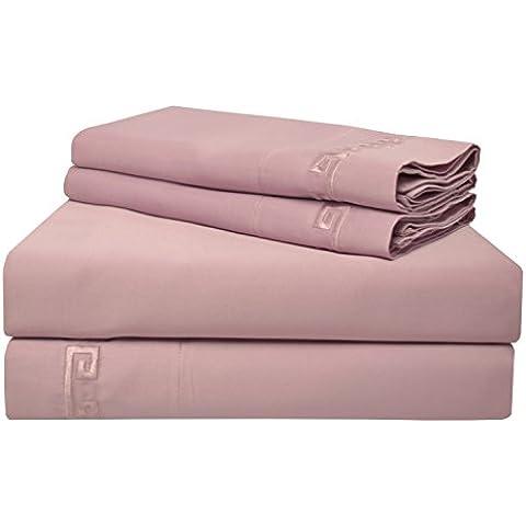 Impressions 600 fili per ricamo, a strato singolo con greca per letto in puro cotone egiziano, colore: lavanda, Regina