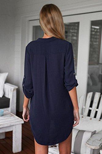 Manadlian T-Shirt,Chemise Femme Tunique V Cou Loose Tops Casual Chemise Blouse Manches Longues Bleu