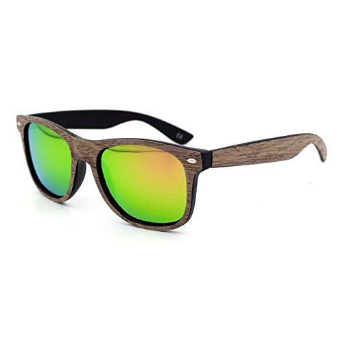 Zhuhaixmy Männer Frauen Middin Bamboo Holz Sonnenbrille Coated Spiegel Brille Eyewear UV400 Anti-Glare Brille