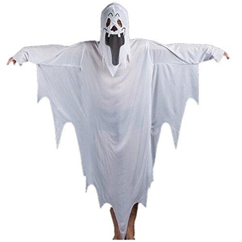 SUNREEK White Ghost Kostüm, Tattered Kleid Maske für Männer Frauen Jungen Mädchen Halloween Kostüm (weiß, Erwachsene Eine Größe)