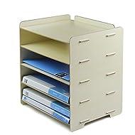 HETAO Kreative hölzerne Bürobedarf Desktop A4 File Box Information Storage Shelf 34 * 25 * 34CM , milk whiteEinfach und stilvoll