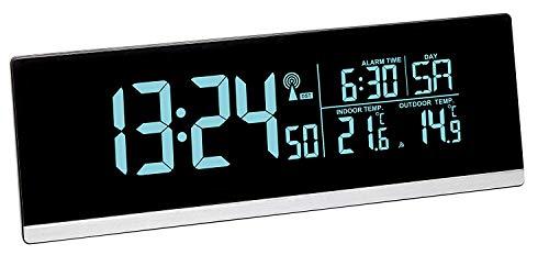 TFA Dostmann Multi-Color 60.2548 Digitaler Funk-Wecker mit Farbwechsel und Außentemperatur (schwarz mit Batterien)