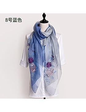 FLYRCX Las mujeres bufanda de seda natural bordado floral bufanda multifuncional de regalo de lujo 200cmx80cm...
