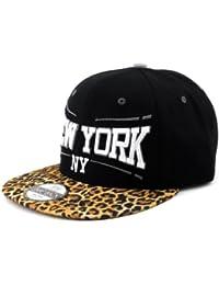 Superbe casquette de rue unisexe de New-York brodé à imprimé léopard, visière plate et attache à bouton pression. Produit offert par NYfashion101. SB1845