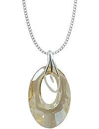220705dc82d7 Top       Helios     30 mm   Golden Shadow   con cadena de plata de plata  de ley 925 con Swarovski® Elements…