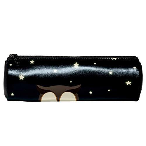 EZIOLY Sleepy Owl Federmäppchen aus Leder für Münzen, Kosmetik, Make-up-Tasche für Schule, Arbeit, Büro