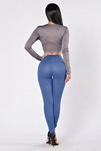 Bigood Femme Slim Pantalon Longue Hollow-out avec Carreaux en Polyester Legging Bleu Claire