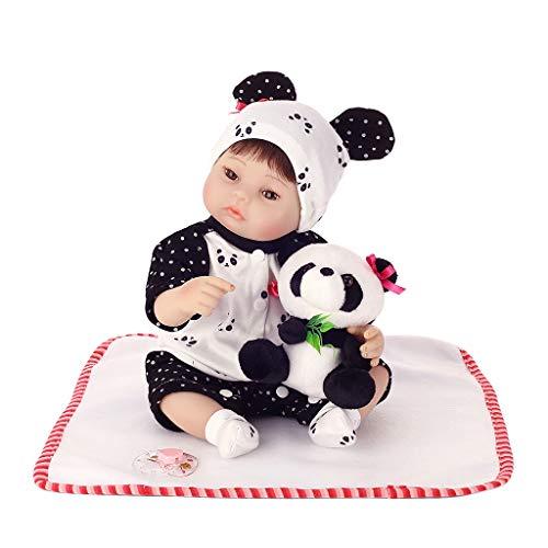 LyGuy Silikon Neugeborenes lebensechtes Baby, Blanket Panda Kleidung Hut Perfektes Geburtstags-Puppen-Geschenk für Kinder 16 Zoll 40 cm (Kleidung Puppe 16 In)