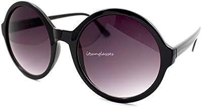 Señoras Marco de círculo grande redondo moderno retro para mujer Gaga gafas negro Gafas de sol