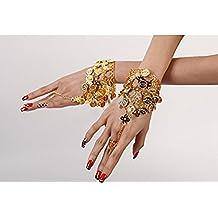 ewinever(TM) 2pcs de moda del traje de la danza de vientre monedas pulsera Accesorios Mano de oro cadena ajustable