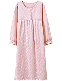 bb55b53aee Allmeingeld Girls  Princess Nighties Heart Print Nightgowns Cotton  Sleepwear for 3-12 Years
