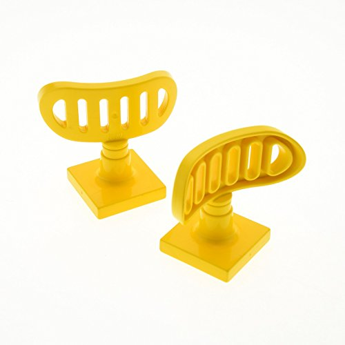 Bausteine gebraucht 2 x Lego Duplo Antenne Radar gelb 2 x 2 drehbar Stand Fuss Base gelb Flughafen Polizei Schiff Boot Feuerwehr 9163 4376c01
