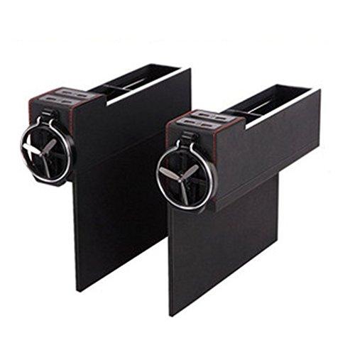 myfei 4USB-Port Leder Auto Fugendüse Aufbewahrungsbox, tragbar Organisation Box Sitz Ritzenfüller mit Faltbare Tasse Halterung, 1Paar (Auto-konsole-organisation)
