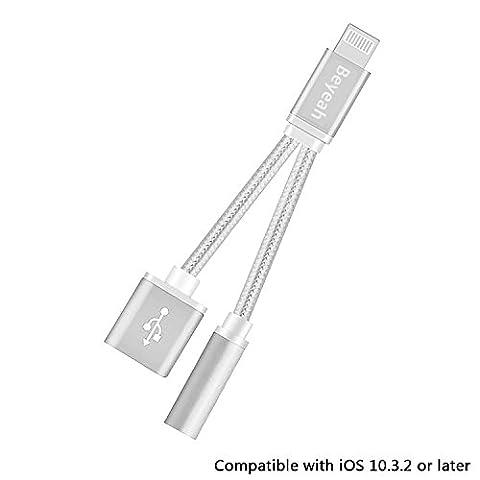2 en 1 adaptateur de Lightning pour iphone 7 / iphone 7 Plus, Beyeah iphone 7 / iphone 7 Plus Port Lightning vers Jack 3,5 mm femelle audio casque câble adaptateur (Argent) - Pas de contrôle de musique et appel téléphonique - Compatible pour iOS 10.3.2 ou