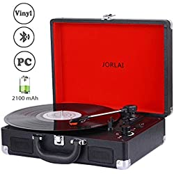 JORLAI Platine 33/45/78 Vitesse avec Bluetooth, Lecteur Vinyle avec Batterie, Enregistrement sur Ordinateur, 3,5 mm et Entrée AUX, Sortie Ligne pour Haut-parleurs Externes