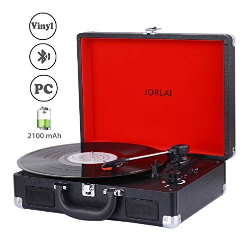 JORLAI 3-Geschwindigkeiten Plattenspieler mit Bluetooth Schnittstelle eingebauten Lautsprechern, wiederaufladbarem Akku, Vinyl zu MP3 Aufnahmefunktion, Kopfhörerausgang, Aux-Eingang, Cinchausgängen (Mit Plattenspieler Dvd)