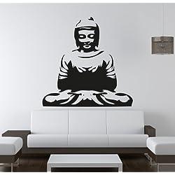 Adesiviamo Buda _ Spirit _ M Pegatina Mural, PVC, negro, 40x 40cm