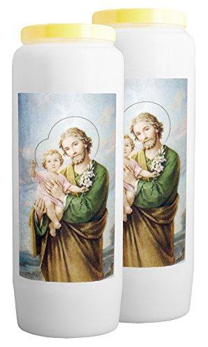CHRIST-en-or : 2X Novene Kerze Der Heiliger Josef - Neuntägige katholische andacht (100% pflanzlich) (Lass Die Kirche Die Kirche Sein)