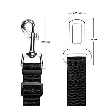 3 Pack Laisse Ceinture de Sécurité pour Chien Chat de Compagnie Réglable Harnais pour les sièges de voiture 50-75cm