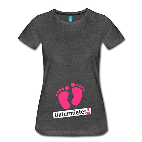 Spreadshirt Schwangerschaft Baby Untermieter Babyfüße Frauen Premium T-Shirt, XL (42), Anthrazit