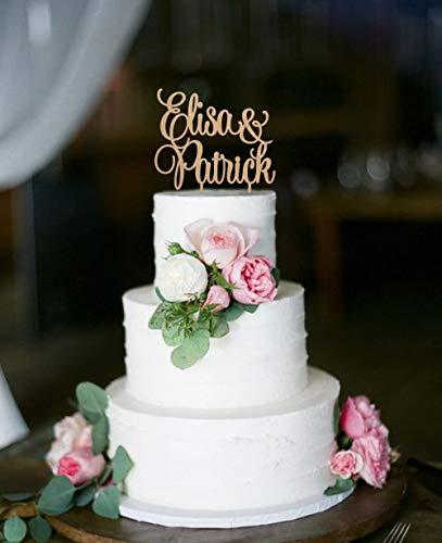 Ethelt5IV Hochzeitstorte Topper Herr und Frau Cake Topper Hochzeit Topper Braut Bräutigam Custom Name Cake Topper Holz personalisierte Topper Rustikale Kuchen Topper