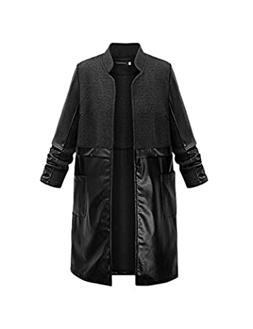 PU Simple élégant Patchwork trench-coats des femmes Black XL