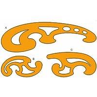 Liquidraw® francese curve set di 3righelli chiaro/Arancione disegno tecnico stencil modelli curvilinee Orange