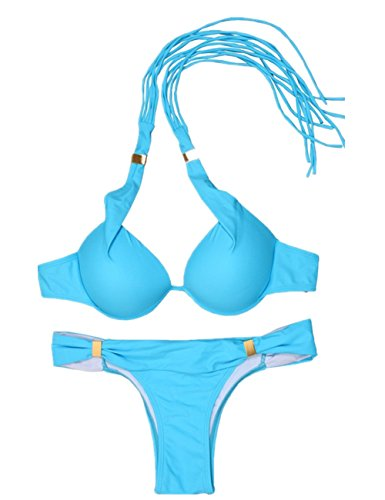 Aidonger Damen Mädchen einfarbig Neckholder Bandage Bikini-Sets Schöner Heller Swimwear Taucheranzug Blau