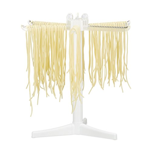 Relaxdays Pasta Drying Rack with 6 Arms, Folding Noodle Stand for Drying Pasta, Spaghetti & Fettuccini, 31 x 31 x 31 cm, White