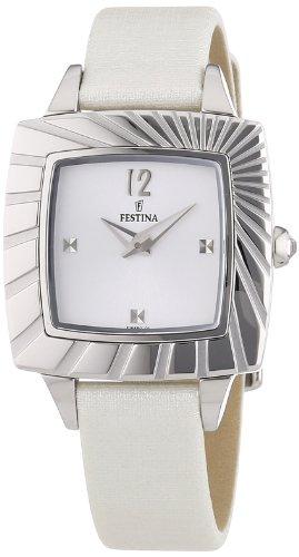 Festina F16650/1 - Reloj analógico de cuarzo para mujer, correa de cuero color crema (agujas luminiscentes)