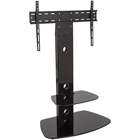 Negro Cantilever Soporte para televisor con soporte de pared y estantes de vidrio–LCD, LED, Plasma televisores de hasta 55pulgadas