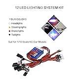 Wokee 12-LED RC Auto Licht Kit, Beleuchtung System Kit Simulation Blinklichter Scheinwerfer Rücklicht Tamiya für 1/10