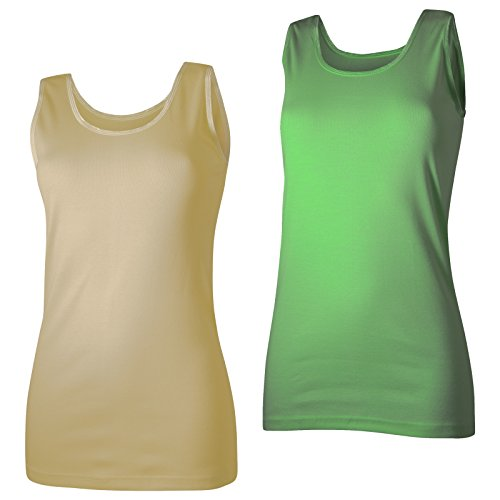 2 Damen Unterhemden Feinripp supergekämmte Baumwolle in tollen Farben Gelb/Grün